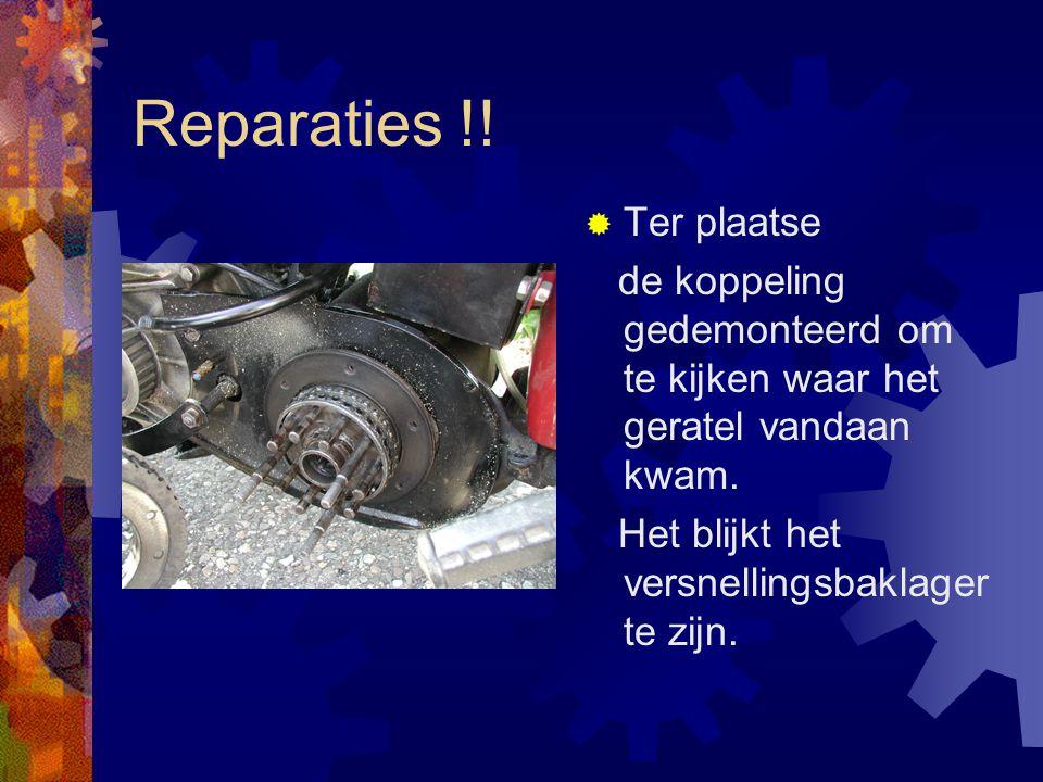 Reparaties !. Ter plaatse de koppeling gedemonteerd om te kijken waar het geratel vandaan kwam.