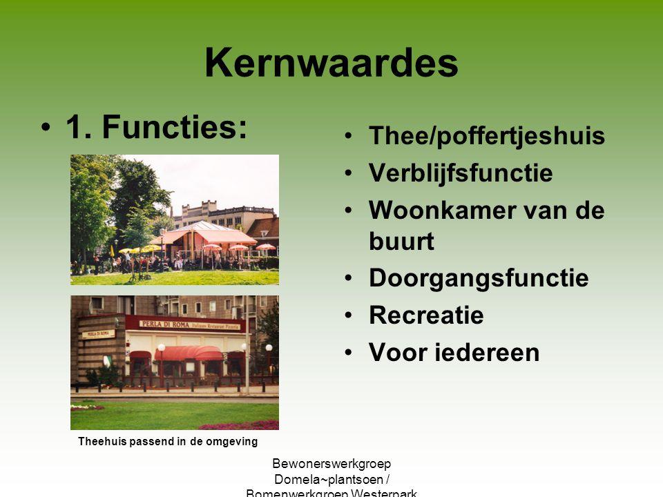 Bewonerswerkgroep Domela~plantsoen / Bomenwerkgroep Westerpark Kernwaardes 1. Functies: Thee/poffertjeshuis Verblijfsfunctie Woonkamer van de buurt Do