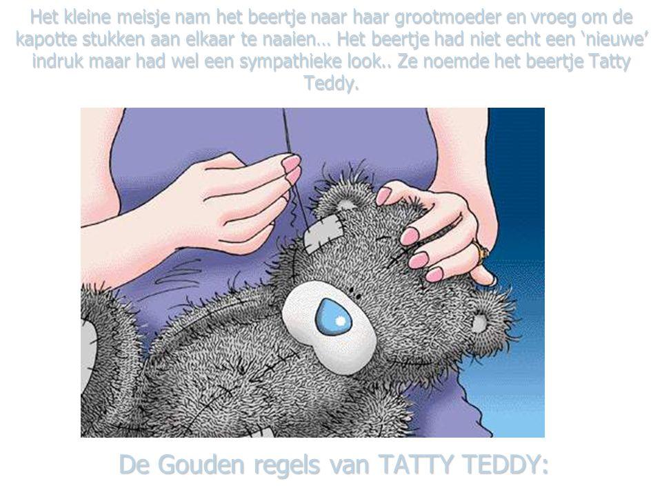 Het kleine meisje nam het beertje naar haar grootmoeder en vroeg om de kapotte stukken aan elkaar te naaien… Het beertje had niet echt een 'nieuwe' indruk maar had wel een sympathieke look..