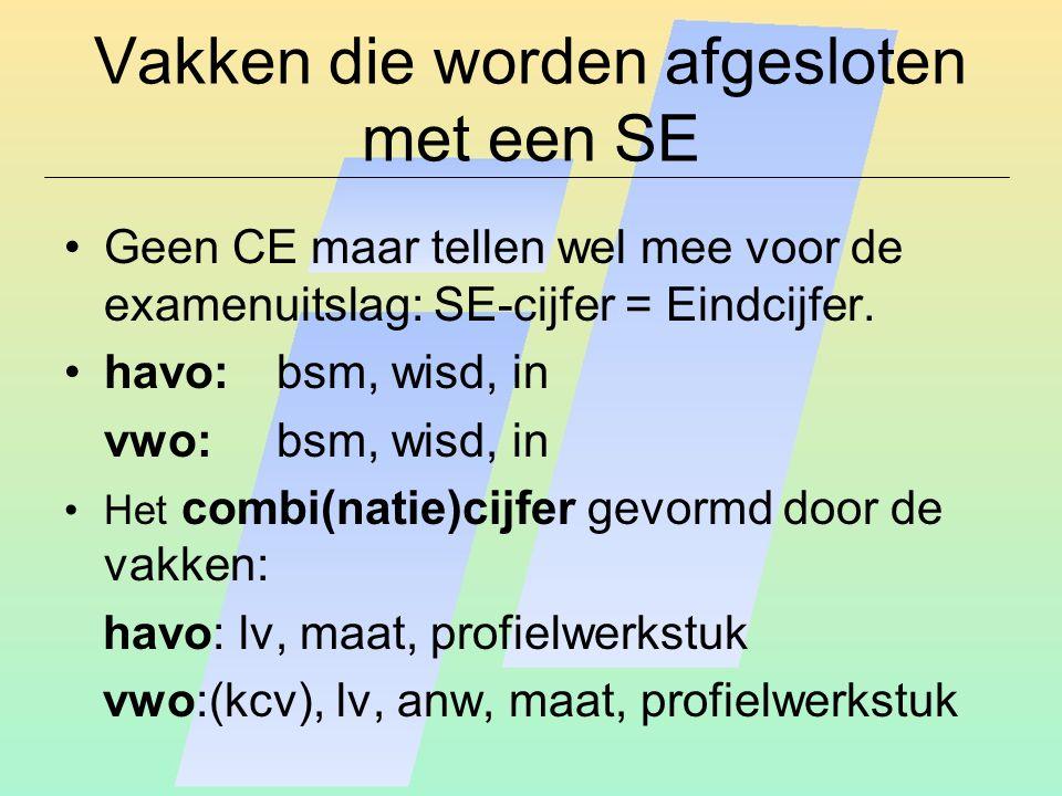Vakken die worden afgesloten met een SE Geen CE maar tellen wel mee voor de examenuitslag: SE-cijfer = Eindcijfer.