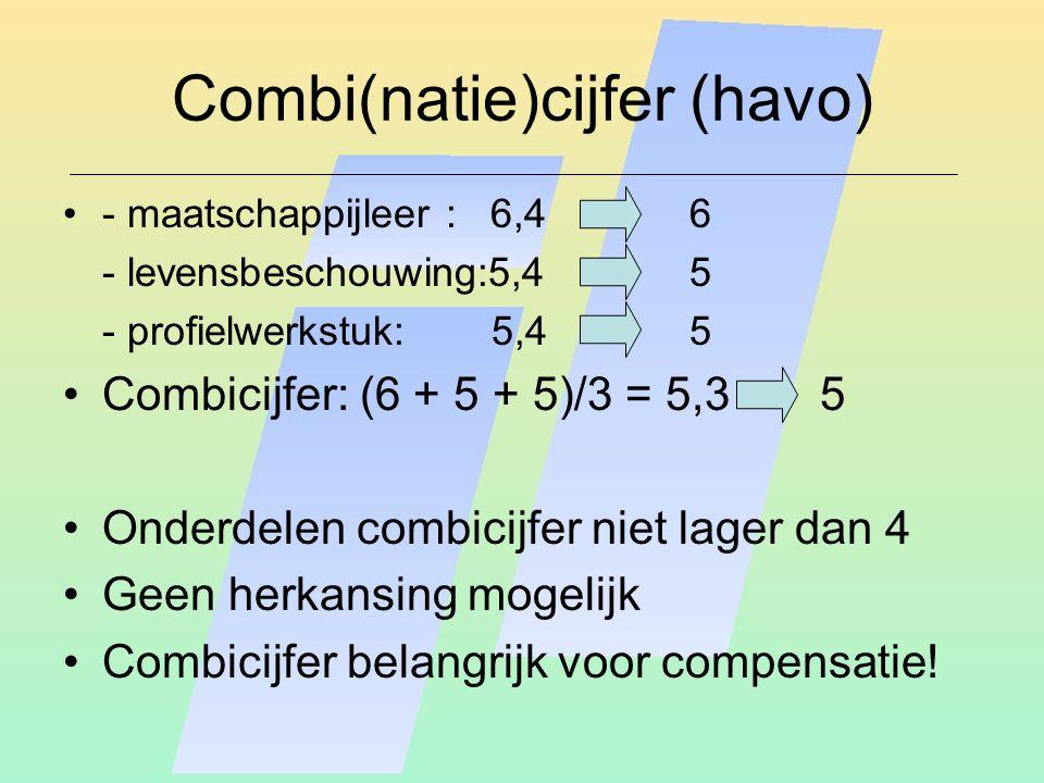 Combi(natie)cijfer (havo) - maatschappijleer : 6,46 - levensbeschouwing:5,45 - profielwerkstuk: 5,4 5 Combicijfer: (6 + 5 + 5)/3 = 5,3 5 Onderdelen combicijfer niet lager dan 4 Geen herkansing mogelijk Combicijfer belangrijk voor compensatie!