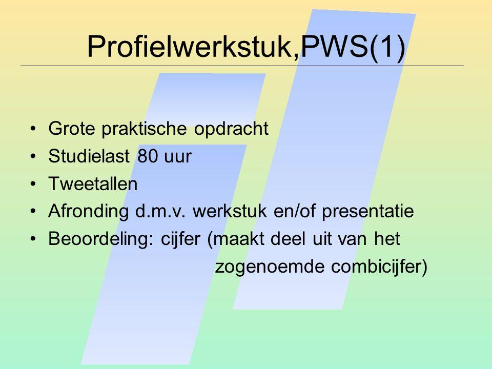 Profielwerkstuk,PWS(1) Grote praktische opdracht Studielast 80 uur Tweetallen Afronding d.m.v.