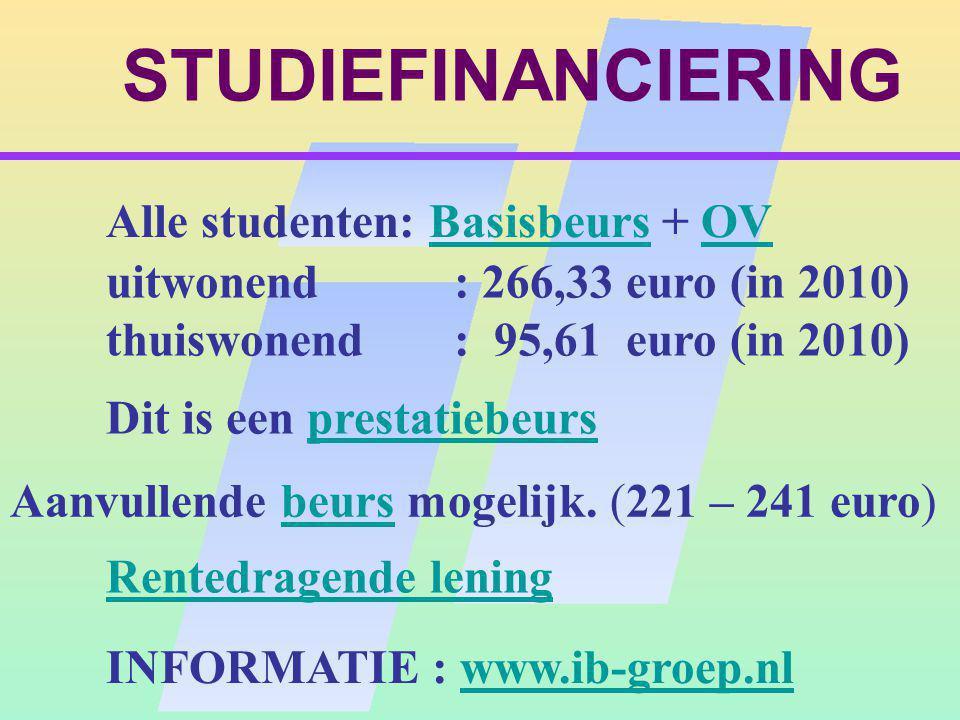STUDIEFINANCIERING Alle studenten: Basisbeurs + OVBasisbeursOV Dit is een prestatiebeursprestatiebeurs Aanvullende beurs mogelijk.
