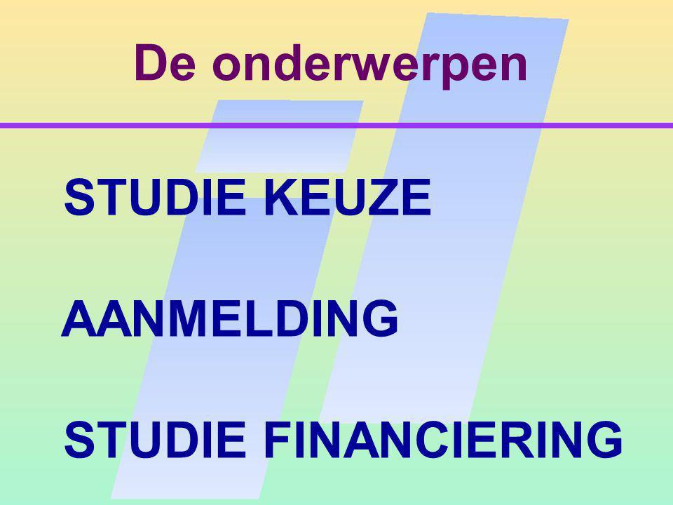 De onderwerpen STUDIE KEUZE AANMELDING STUDIE FINANCIERING