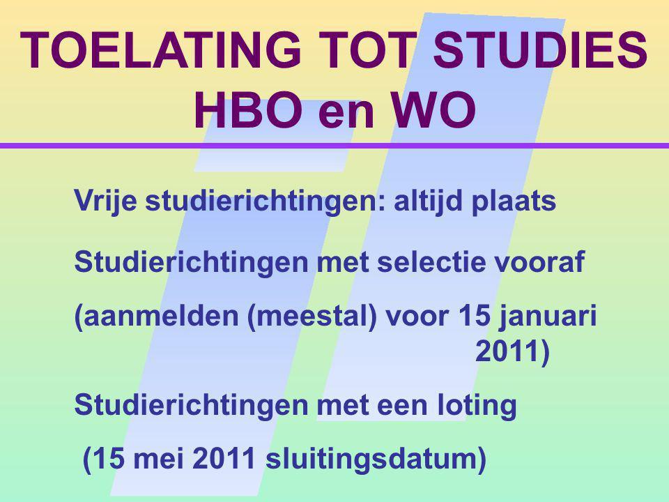 TOELATING TOT STUDIES HBO en WO Studierichtingen met selectie vooraf (aanmelden (meestal) voor 15 januari 2011) Vrije studierichtingen: altijd plaats Studierichtingen met een loting (15 mei 2011 sluitingsdatum)