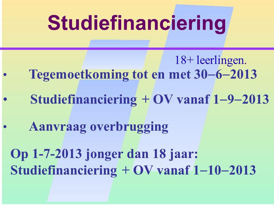 STUDIEFINANCIERING Alle studenten: Basisbeurs + OV Dit is een prestatiebeurs Aanvullende beurs mogelijk.