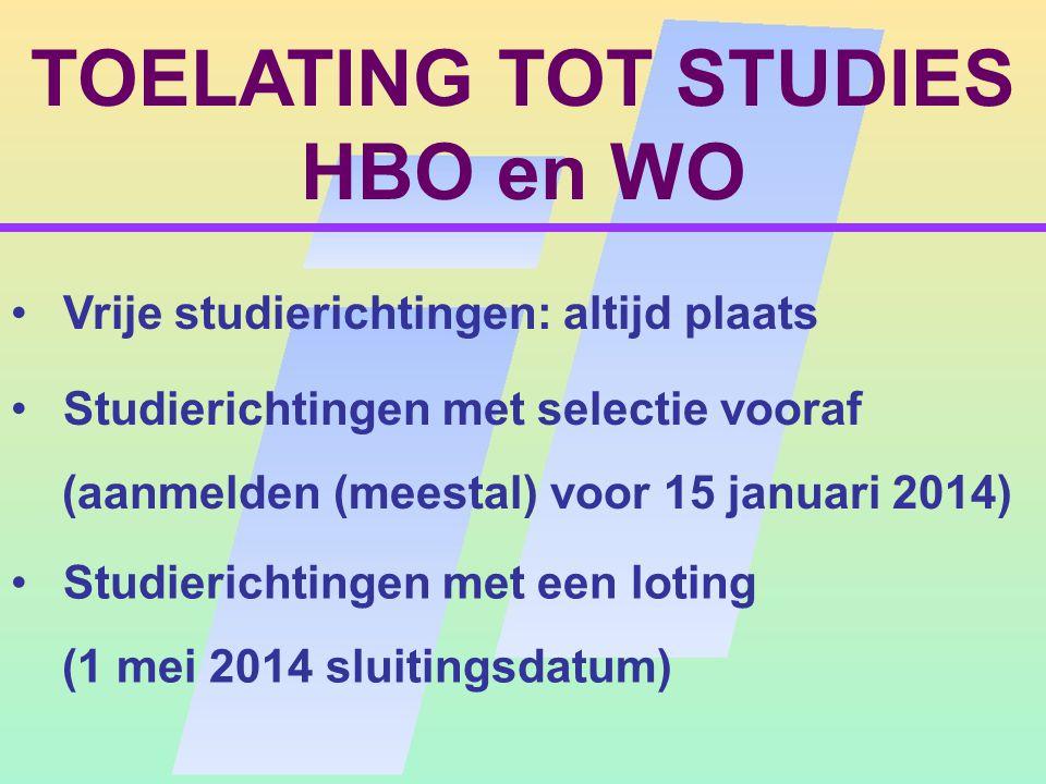 TOELATING TOT STUDIES HBO en WO (II) Selectie : Universiteiten en hogescholen kunnen, voor opleidingen met een loting, voor een bepaald percentage van de plaatsen zelf studenten selecteren.