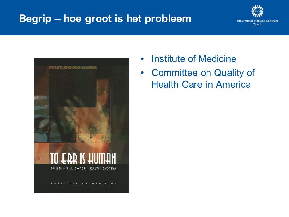 Begrip – hoe groot is het probleem Institute of Medicine Committee on Quality of Health Care in America
