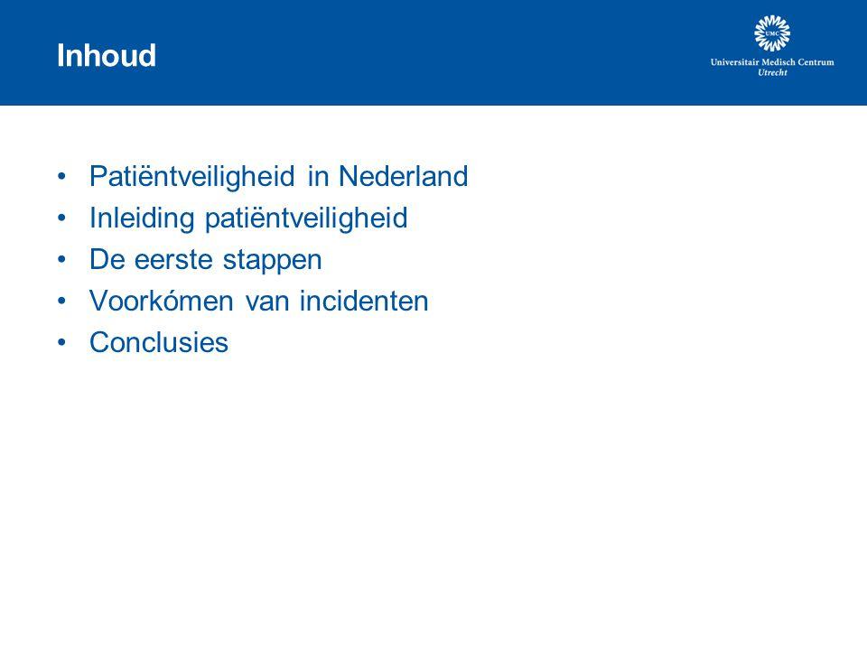 Patiëntveiligheid in Nederland 1999 to err is human 2004Rapport Willems 2005Oprichting Platform Patiëntveiligheid 2005Sneller Beter 2005Nationale week van de patiëntveiligheid 2006Tweede week van de patiëntveiligheid 2007Mortaliteitscijfers bekend 2008Nationaal Veiligheidsprogramma