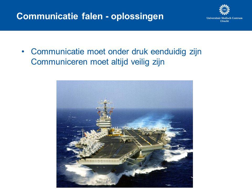 Communicatie falen - oplossingen Communicatie moet onder druk eenduidig zijn Communiceren moet altijd veilig zijn
