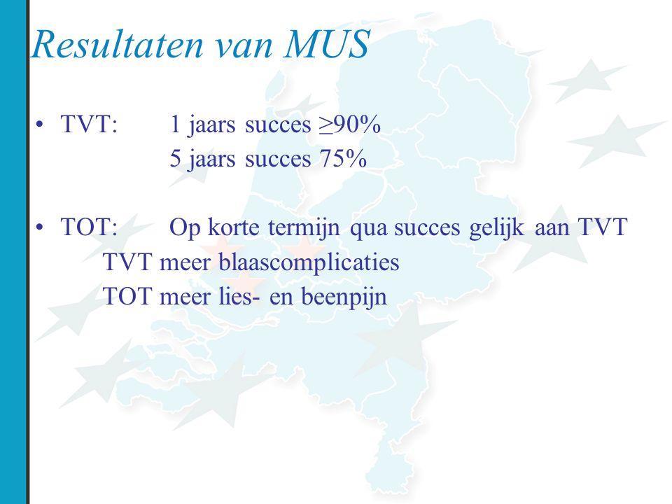 Resultaten van MUS TVT:1 jaars succes ≥90% 5 jaars succes 75% TOT:Op korte termijn qua succes gelijk aan TVT TVT meer blaascomplicaties TOT meer lies-