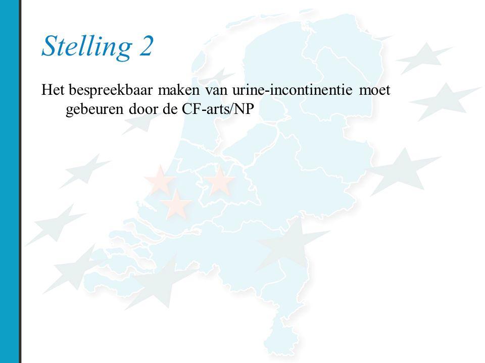 Stelling 2 Het bespreekbaar maken van urine-incontinentie moet gebeuren door de CF-arts/NP