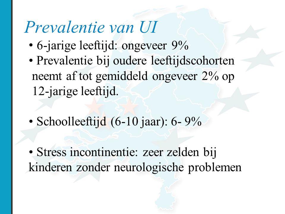 Prevalentie van UI 6-jarige leeftijd: ongeveer 9% Prevalentie bij oudere leeftijdscohorten neemt af tot gemiddeld ongeveer 2% op 12-jarige leeftijd.