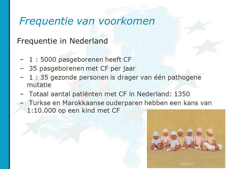 Frequentie van voorkomen Frequentie in Nederland – 1 : 5000 pasgeborenen heeft CF – 35 pasgeborenen met CF per jaar – 1 : 35 gezonde personen is drager van één pathogene mutatie – Totaal aantal patiënten met CF in Nederland: 1350 – Turkse en Marokkaanse ouderparen hebben een kans van 1:10.000 op een kind met CF