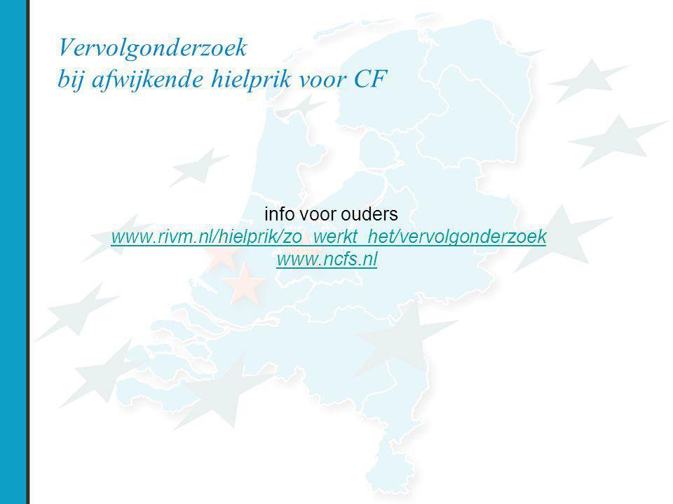 Vervolgonderzoek bij afwijkende hielprik voor CF info voor ouders www.rivm.nl/hielprik/zo_werkt_het/vervolgonderzoek www.ncfs.nl
