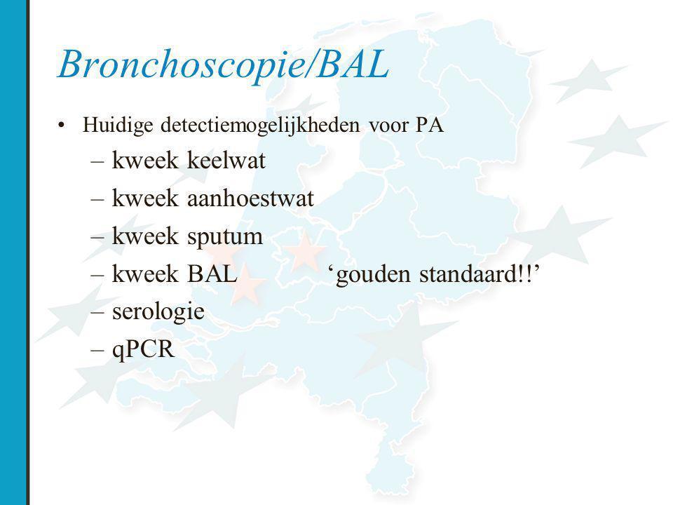 Bronchoscopie/BAL Huidige detectiemogelijkheden voor PA –kweek keelwat –kweek aanhoestwat –kweek sputum –kweek BAL'gouden standaard!!' –serologie –qPCR