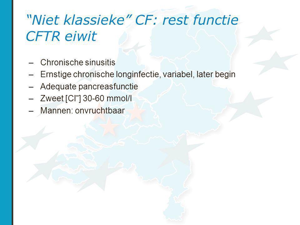 Niet klassieke CF: rest functie CFTR eiwit – Chronische sinusitis – Ernstige chronische longinfectie, variabel, later begin – Adequate pancreasfunctie – Zweet [Cl‾] 30-60 mmol/l – Mannen: onvruchtbaar