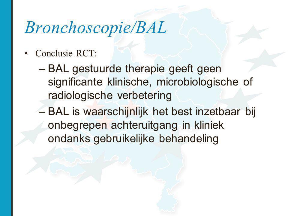 Conclusie RCT: –BAL gestuurde therapie geeft geen significante klinische, microbiologische of radiologische verbetering –BAL is waarschijnlijk het best inzetbaar bij onbegrepen achteruitgang in kliniek ondanks gebruikelijke behandeling