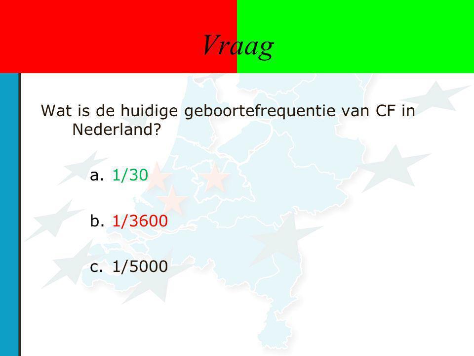 Vraag Wat is de huidige geboortefrequentie van CF in Nederland? a.1/30 b.1/3600 c.1/5000