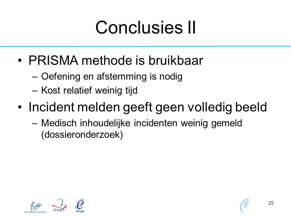 25 Conclusies II PRISMA methode is bruikbaar –Oefening en afstemming is nodig –Kost relatief weinig tijd Incident melden geeft geen volledig beeld –Me