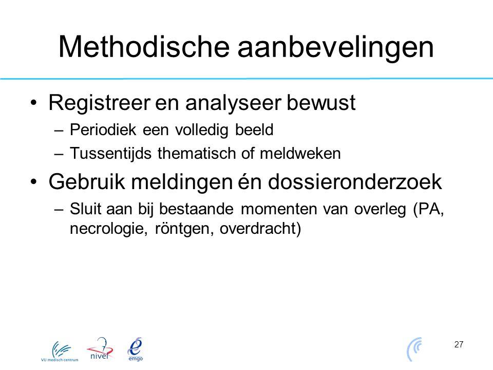 27 Methodische aanbevelingen Registreer en analyseer bewust –Periodiek een volledig beeld –Tussentijds thematisch of meldweken Gebruik meldingen én do
