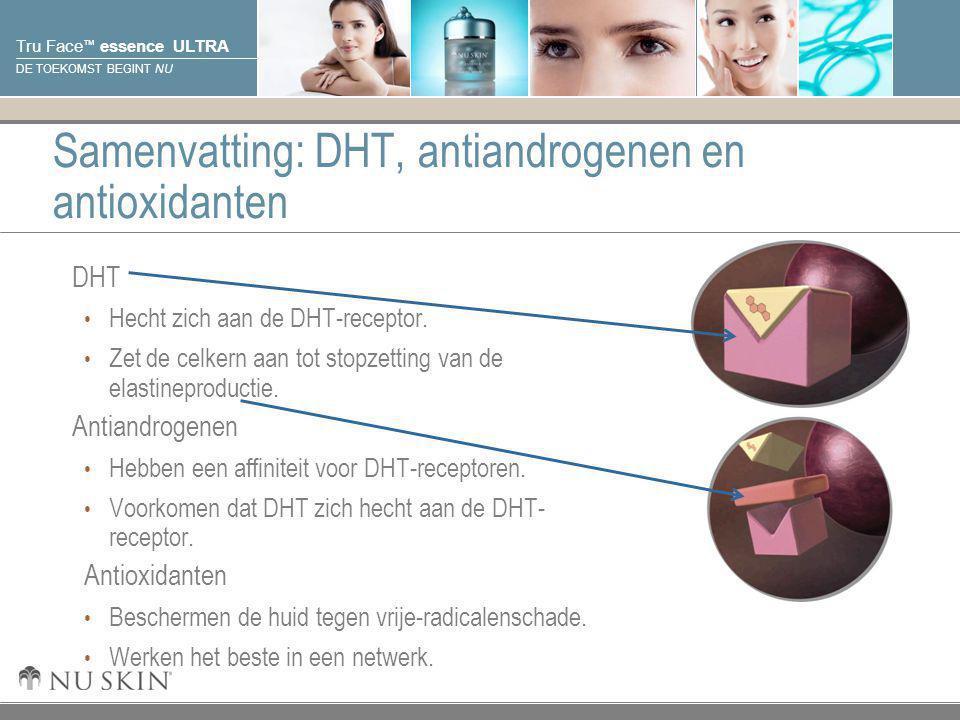 © 2001 Nu Skin International, Inc Tru Face ™ essence ULTRA DE TOEKOMST BEGINT NU Samenvatting: DHT, antiandrogenen en antioxidanten DHT Hecht zich aan