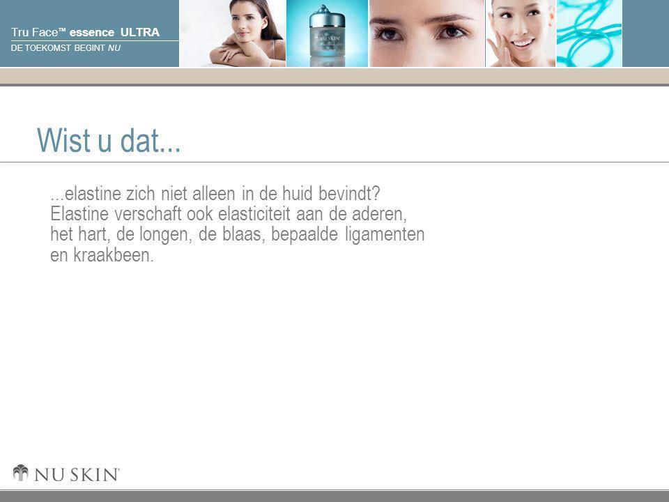 © 2001 Nu Skin International, Inc Tru Face ™ essence ULTRA DE TOEKOMST BEGINT NU Wist u dat......elastine zich niet alleen in de huid bevindt? Elastin