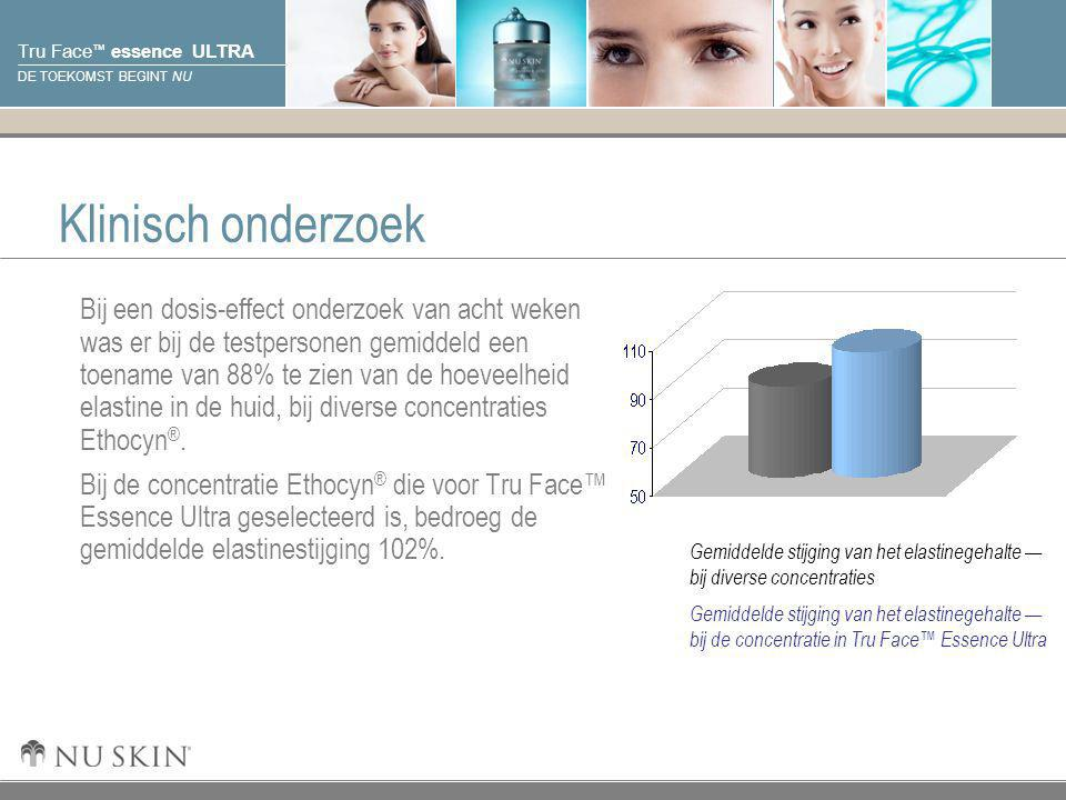 © 2001 Nu Skin International, Inc Tru Face ™ essence ULTRA DE TOEKOMST BEGINT NU Klinisch onderzoek Bij een dosis-effect onderzoek van acht weken was