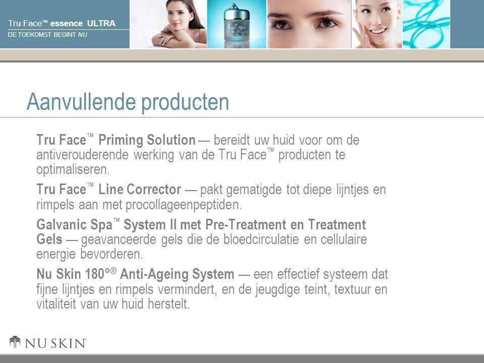 © 2001 Nu Skin International, Inc Tru Face ™ essence ULTRA DE TOEKOMST BEGINT NU Aanvullende producten Tru Face ™ Priming Solution — bereidt uw huid v