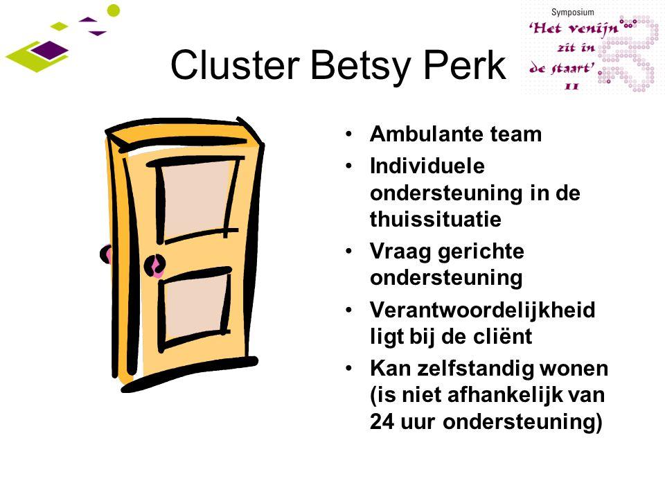 Cluster Betsy Perk Ambulante team Individuele ondersteuning in de thuissituatie Vraag gerichte ondersteuning Verantwoordelijkheid ligt bij de cliënt Kan zelfstandig wonen (is niet afhankelijk van 24 uur ondersteuning)