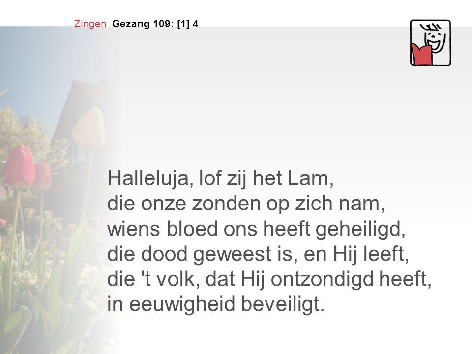 Zingen Gezang 109: [1] 4 Halleluja, lof zij het Lam, die onze zonden op zich nam, wiens bloed ons heeft geheiligd, die dood geweest is, en Hij leeft,