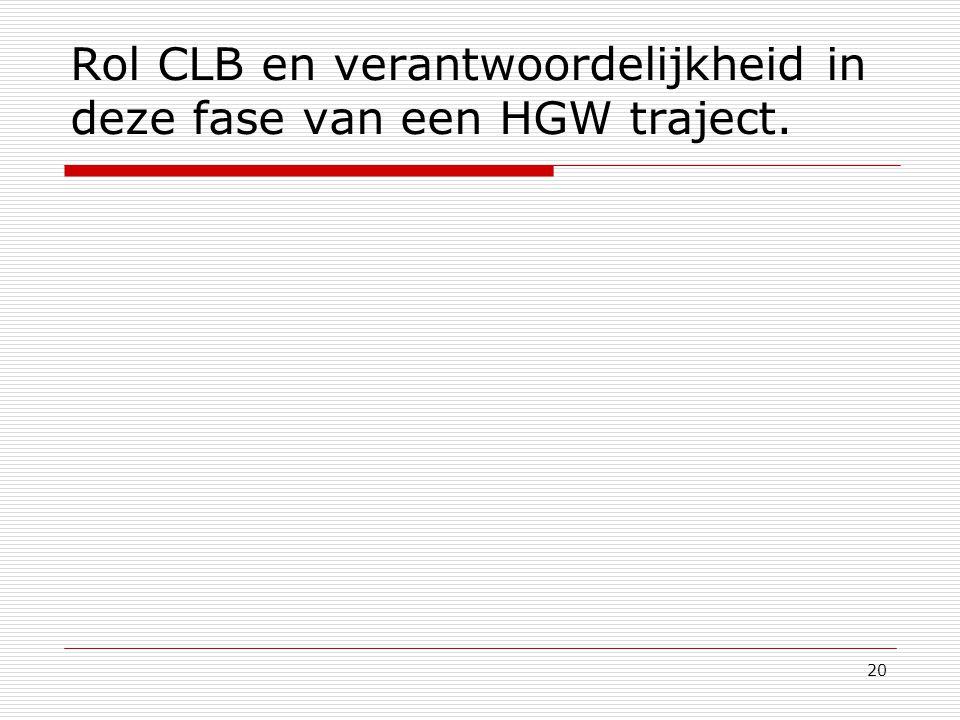 20 Rol CLB en verantwoordelijkheid in deze fase van een HGW traject.