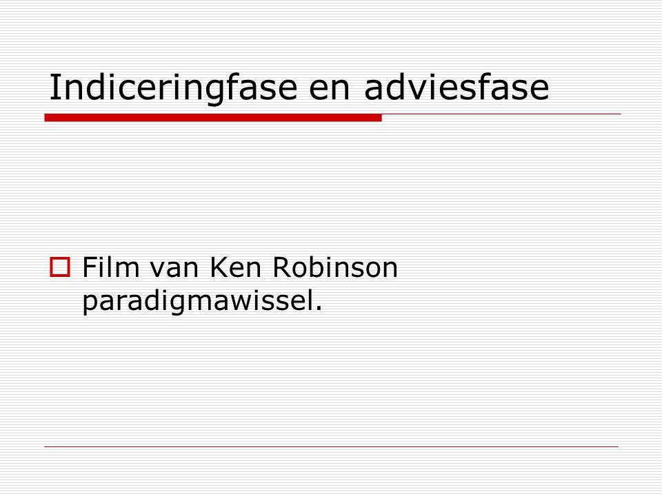 Indiceringfase en adviesfase  Film van Ken Robinson paradigmawissel.