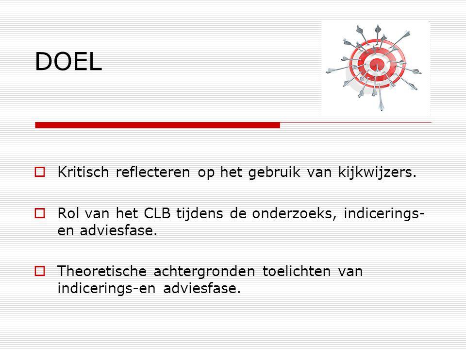 DOEL  Kritisch reflecteren op het gebruik van kijkwijzers.  Rol van het CLB tijdens de onderzoeks, indicerings- en adviesfase.  Theoretische achter
