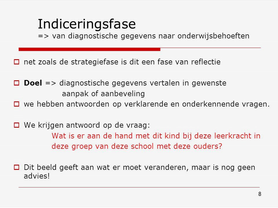8 Indiceringsfase => van diagnostische gegevens naar onderwijsbehoeften  net zoals de strategiefase is dit een fase van reflectie  Doel => diagnosti