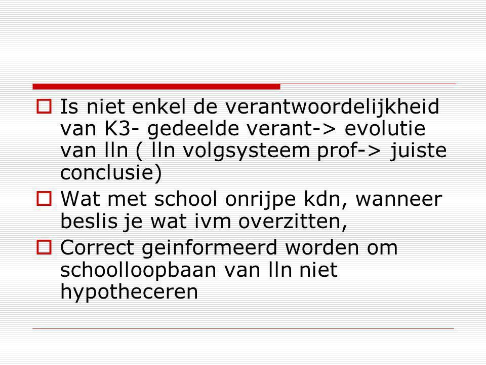  Is niet enkel de verantwoordelijkheid van K3- gedeelde verant-> evolutie van lln ( lln volgsysteem prof-> juiste conclusie)  Wat met school onrijpe