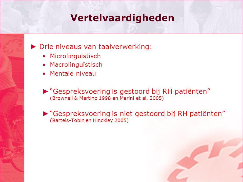 "Vertelvaardigheden ► Drie niveaus van taalverwerking: Microlinguïstisch Macrolinguïstisch Mentale niveau ► ""Gespreksvoering is gestoord bij RH patiënt"