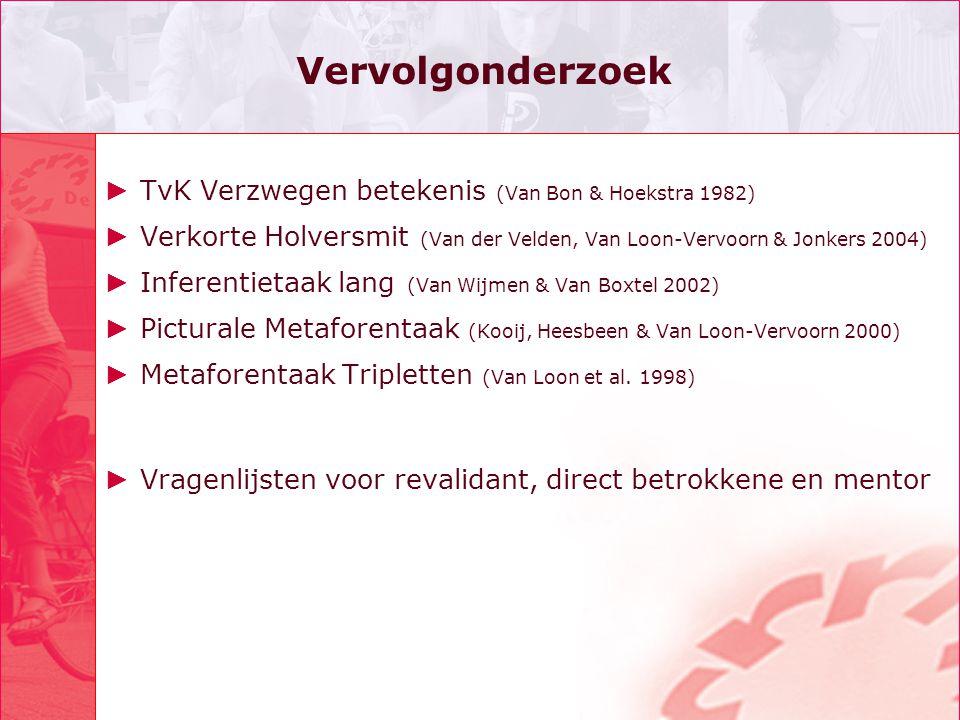 Vervolgonderzoek ► TvK Verzwegen betekenis (Van Bon & Hoekstra 1982) ► Verkorte Holversmit (Van der Velden, Van Loon-Vervoorn & Jonkers 2004) ► Infere