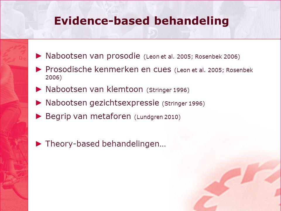 Evidence-based behandeling ► Nabootsen van prosodie (Leon et al. 2005; Rosenbek 2006) ► Prosodische kenmerken en cues (Leon et al. 2005; Rosenbek 2006