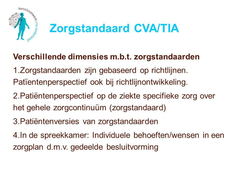 Verschillende dimensies m.b.t. zorgstandaarden 1.Zorgstandaarden zijn gebaseerd op richtlijnen.