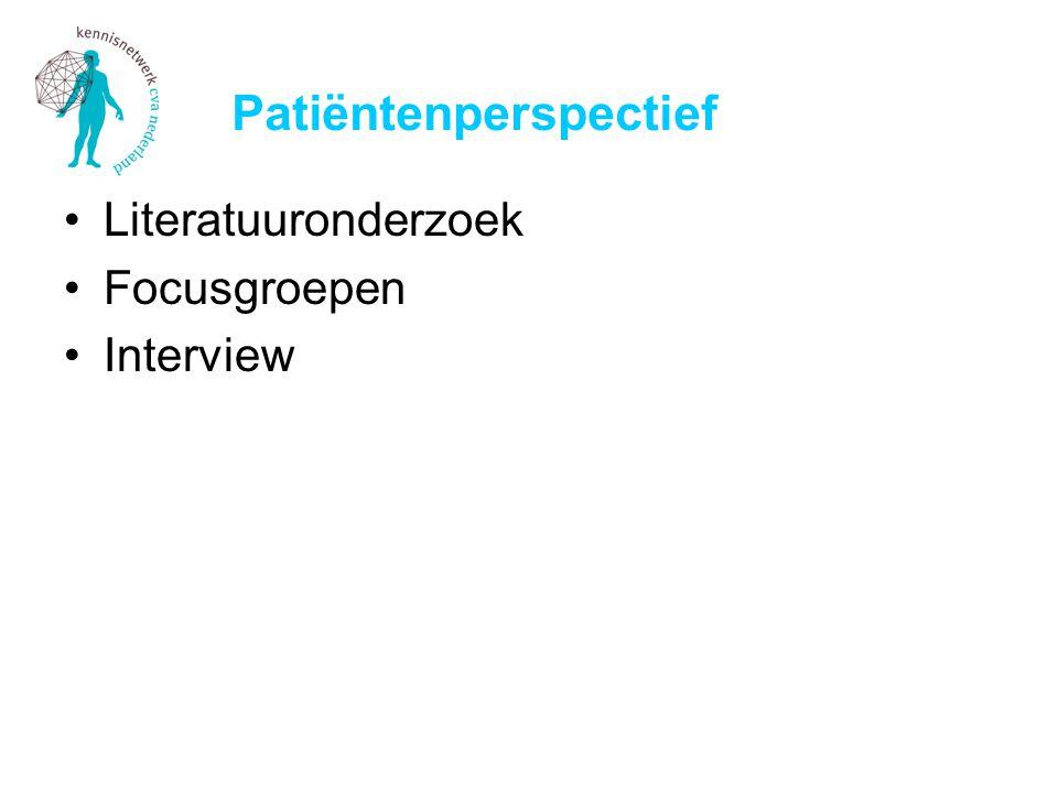 Patiëntenperspectief Literatuuronderzoek Focusgroepen Interview