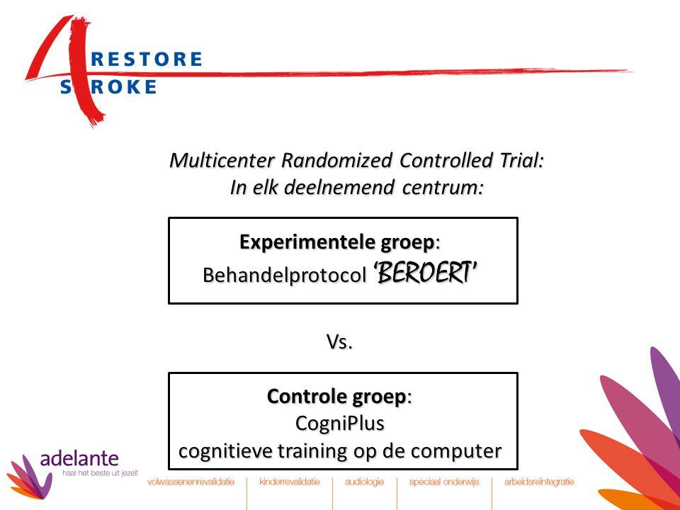 Multicenter Randomized Controlled Trial: In elk deelnemend centrum: Experimentele groep: Behandelprotocol 'BEROERT' Vs. Controle groep: CogniPlus cogn