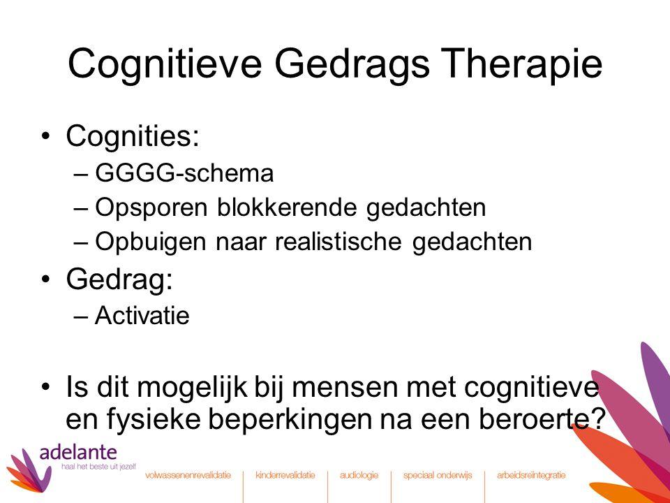 Cognitieve Gedrags Therapie Cognities: –GGGG-schema –Opsporen blokkerende gedachten –Opbuigen naar realistische gedachten Gedrag: –Activatie Is dit mo