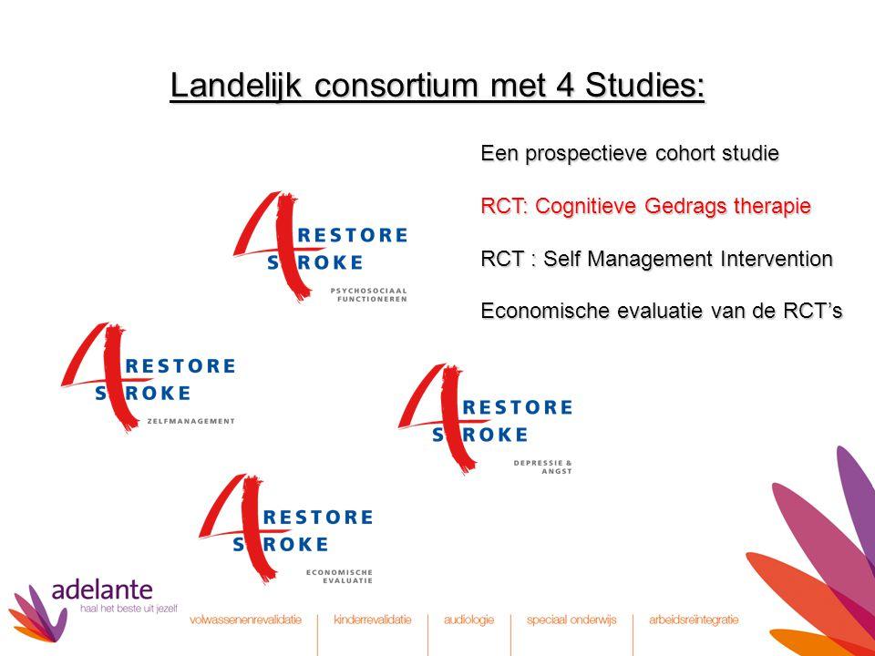 Landelijk consortium met 4 Studies: Een prospectieve cohort studie RCT: Cognitieve Gedrags therapie RCT: Cognitieve Gedrags therapie RCT : Self Manage