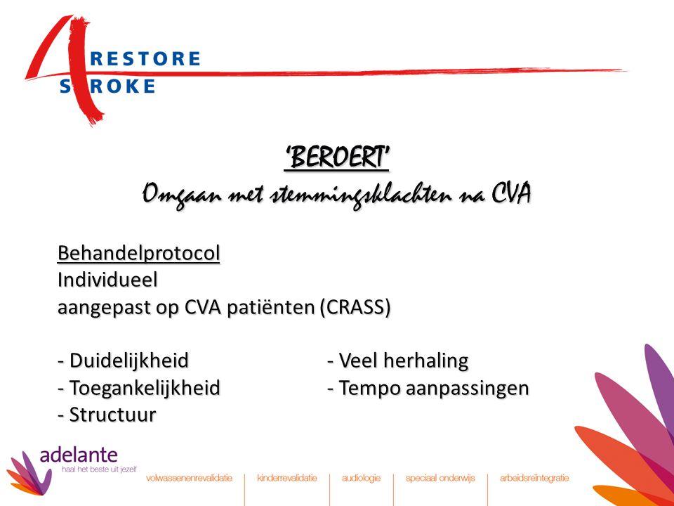'BEROERT' Omgaan met stemmingsklachten na CVA Behandelprotocol Individueel aangepast op CVA patiënten (CRASS) - Duidelijkheid- Veel herhaling - Toegan