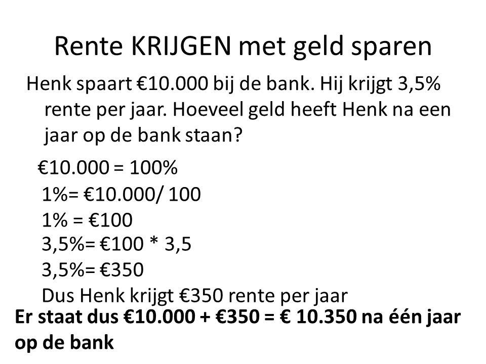 Rente KRIJGEN met geld sparen Henk spaart €10.000 bij de bank. Hij krijgt 3,5% rente per jaar. Hoeveel geld heeft Henk na een jaar op de bank staan? €