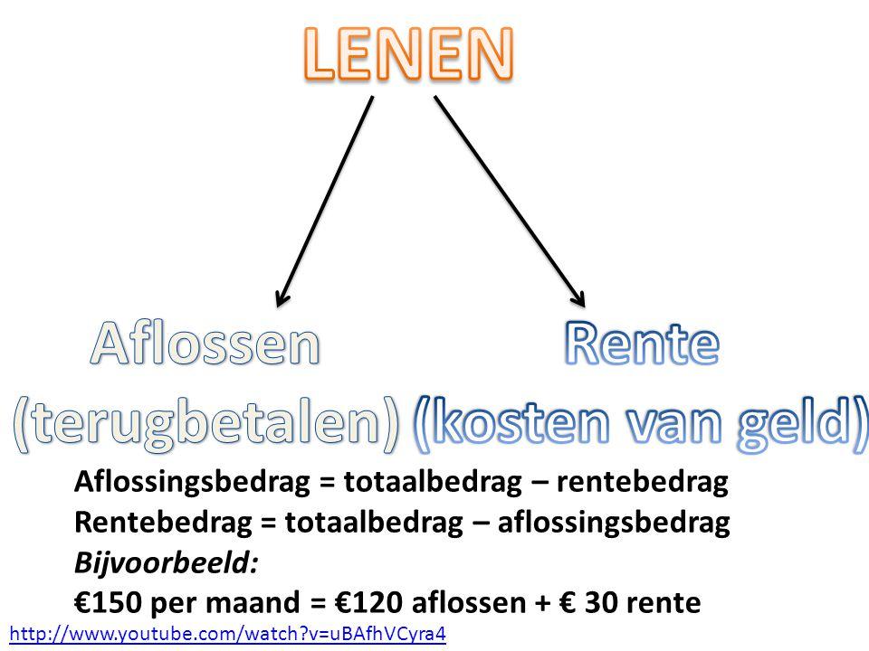 Aflossingsbedrag = totaalbedrag – rentebedrag Rentebedrag = totaalbedrag – aflossingsbedrag Bijvoorbeeld: €150 per maand = €120 aflossen + € 30 rente http://www.youtube.com/watch?v=uBAfhVCyra4