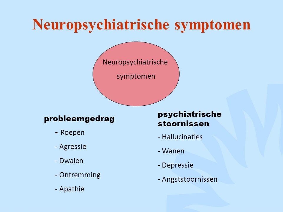 Neuropsychiatrische symptomen Neuropsychiatrische symptomen psychiatrische stoornissen probleemgedrag - Roepen - Agressie - Dwalen - Ontremming - Apathie - Hallucinaties - Wanen - Depressie - Angststoornissen