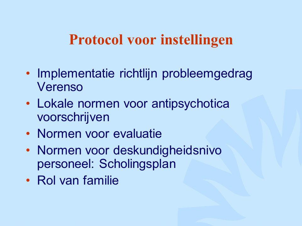 Protocol voor instellingen Implementatie richtlijn probleemgedrag Verenso Lokale normen voor antipsychotica voorschrijven Normen voor evaluatie Normen voor deskundigheidsnivo personeel: Scholingsplan Rol van familie