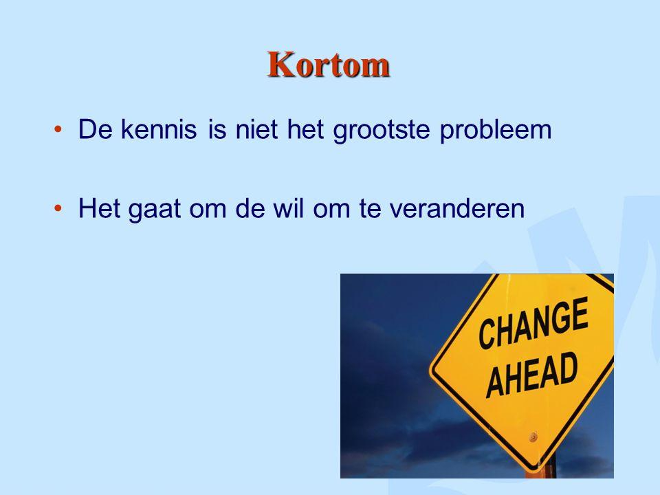 Kortom De kennis is niet het grootste probleem Het gaat om de wil om te veranderen